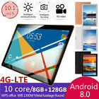 "New 10.1"" 4G-LTE Tablet Android 8.0 PC 8 128GB Dual SIM GPS Camera"