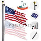 30FT Aluminum Sectional Flagpole Kit Fly 2 Flags 3'x5' US American Flag Top Ball