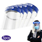 5pcs Safety Full Face Shield Mask Reusable Washable Cover Clear Film Anti Splash