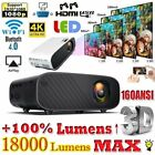 18000 Lumens Home Theater Portable 3D LED HD 1080P Projector HDMI USB Home Video