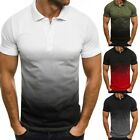 Mens Short Sleeve Muscle Tee Lapel Collar T Shirt Summer Sports Gym Top Blouse