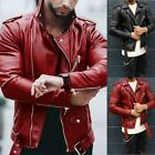 Mens Retro Biker Faux Leather Coats Slim Fit Motorcycle Nightclub PU Jackets