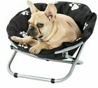 Portable Round Pet Chair Dog Cat Elevated Reclining Bed Paws Print Foldable Sofa