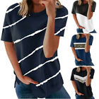 Women's Casual Fashion Short-Sleeved Stitching Round Neck Pullover Thin T-shirt
