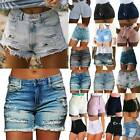 Ladies Hot Pants Denim Shorts Jeans Distressed Ripped High Waist Casual Summer