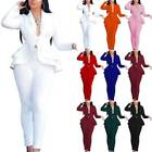 Women Ruffle Suit Blazer Jacket Pants Set Office Formal Business Uniform Work