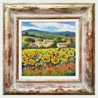Внешний вид - SUNFLOWERS CARPET TUSCANY LANDSCAPE ORIGINAL PAINTING BRUNO CHIRICI ARTWORK