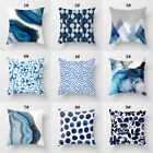 18'' Blue Marble Waist Pillowcase Cushion Cover Home Decor Throw Pillow Case Uk
