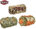 2 X TRIXIE SMALL ANIMAL HAY BALE RABBIT GUINEA PIG EDIBLE TREAT SNACK 3 FLAVOURS