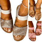 Women Low Wedge Heel Ankle Strap Sandals Open Toe Casual Summer Beach Shoes
