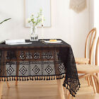 Black Table Cloth Vintage Cotton Tablecloth Hand Crochet Table Cover with Tassel