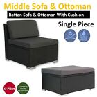 Rattan Outdoor Furniture Middle Sofa And Ottoman Patio Wicker Lounge Garden Set