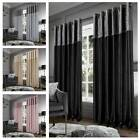Blackout Crushed Velvet Band Curtains Eyelet Faux Silk Curtains Ring Top Pair