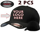 2 Custom Logo Embroidered # 5001 Flexfit Fitted Hats - Free Shipping!!