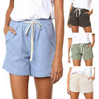 Women Solid Color Drawstring Summer Shorts Pants Casual Mid Waist Beach Shorts