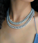 Silver Iced Out Icy Hip Hop Chunky Rhinestone Miami Cuban Bling Chain Necklace