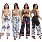 Womens Boho 2Pcs Outfits Bohemian Butterfly Printed Pattern Tops with Long Pants