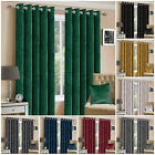 Ring Top Thick Velvet Blackout Curtains Pair With Eyelet Ready Made Fully Lined
