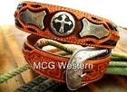 3D Western Mens Belt Leather Tooled Cross Concho Brown 5637