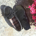 Lambland Mens / Ladies Leather Moccasin Slippers with Hard Wearing Sole - Black