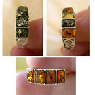 BALTIC HONEY, GREEN or MULTICOLOR AMBER & STERLING SILVER HANDMADE RING BAND