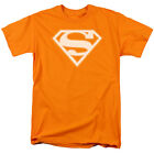 Licensed DC Superman Orange and White Shield Adult Shirt S-3XL