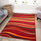 Warm Red Brown Burnt Orange Waves Rug Quality Shiraz Small Large XL Mats 8 Sizes
