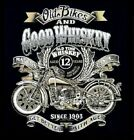OLD BIKES & GOOD WHISKEY MOTORCYCLE BIKER T SHIRT