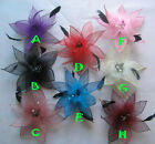 GIRLS WOMEN HAIR BOW CLIPS FEATHER FLOWER BROOCH HAIRPIN PARTY WEDDING 8 COLORS