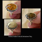 BALTIC MULTICOLOR BUTTERSCOTCH GREEN or HONEY AMBER & STERLING SILVER RING