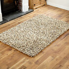 LARGE-MEDIUM 7CM THICK PILE WOOL SHAGGY BEIGE COLOUR RUGS