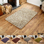 LARGE-MEDIUM 7CM THICK PILE WOOL SHAGGY RED-D GREY-BEIGE-GREEN-LILAC COLOUR RUGS