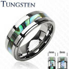 Tungsten Ring Wedding Abalone Inlay Size 5,6,7,8,9,10,11,12,13 (f16)