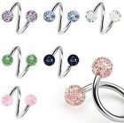 Surgical Steel Glitterballs Spiral Twist Belly Navel Bar 14GA 1.6mm - 10mm