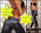 "NEW ""JEGGINGS"" Stretch Denim Print Jeans Leggings, Sexy, Black&Blue, S-M"