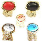 Men Women ARTY Oval Cross Knuckle Stone Armor Cocktail Chunky 6 color Gold Ring
