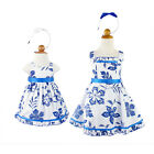 NEW Girls Cotton Party Dress Toddlers Dresses Size 3/6m-8Yr Blue Flowers Print