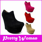 NEW FASHION PLATFORM WEDGE HIGH ANKLE FAUX SUEDE BOOTS SHOES SIZE 3 4 5 6 7 8