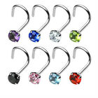 1 - 20 Gauge 3mm Round CZ Prong Set Nose Surgical Steel Screw Ring 8 Colors N14