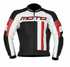 RST MOTO Leather Sports Motorcycle Motorbike Race Jacket Black White Red