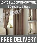 Loxton Pencil Pleat Lined curtains 2 colours Natural cream or Mink brown 9 sizes