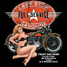 LAST STOP FULL SERVICE GAS BIKER CHOPPER BOBBER LONG SLEEVE T SHIRT BLACK/GRAY