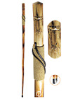 "Hand Carved Design Wood Walking Hiking Hike Stick Cane Staff 55"" Bianbai Wood"