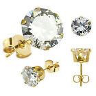 Pair Gold Plated Over Stainless Steel Stud Earring Clear Round Cut 3 - 10mm H24