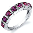 7 Stone 1.75 cts Ruby Band Ring Sterling Silver Size 5 to 9