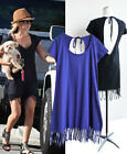 CELEBRITY style Loose & soft bohemian fringe hem casual cotton dress - d74