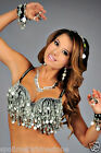 Silver Gold Coin bra top bead Black Large XLarge Belly tribal dance C costume