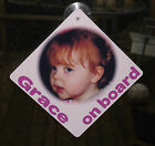 baby on board aluminium car window sign personalised with your photo and text
