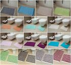 New Easy Clean 100% Cotton Bathroom Mats Set - Washable Bath & Pedestal Mat Sets
