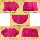 NEW SOFT FLUFFY PLAIN WASHABLE FUSCHIA PINK COLOUR FAKE FAUX FUR SHEEP SKIN RUG